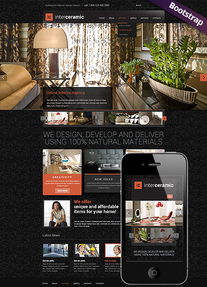 Interior and decore, Bootstrap template