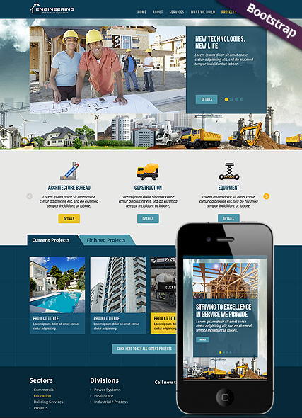 Civil Engeneering, Bootstrap template