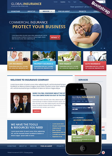 Insurance, Bootstrap template