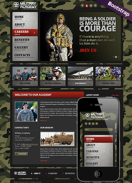 Military, Bootstrap template