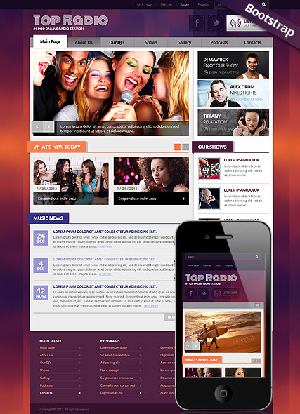 Top Radio, Bootstrap template