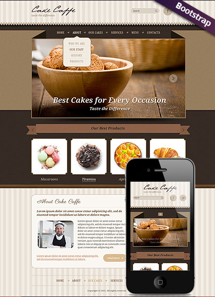 Cake Caffe, Bootstrap template