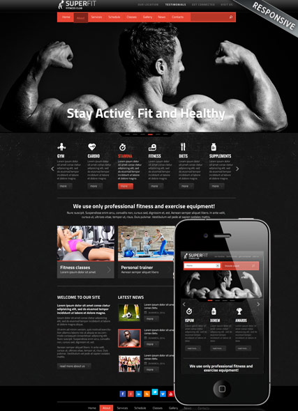 Fitness club v3, Joomla template