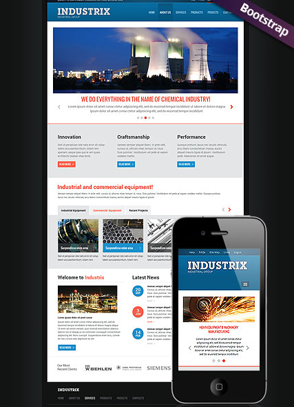 Heavy Industry , Bootstrap template