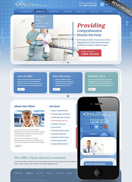 Dental Clinic, Wordpress template