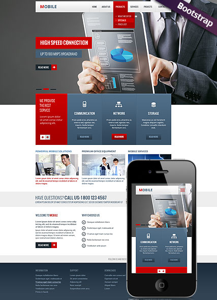 Mobile, Bootstrap template