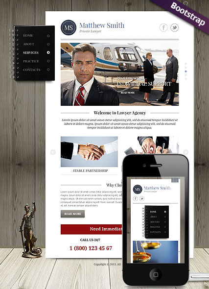 Private Lawyer, Bootstrap template