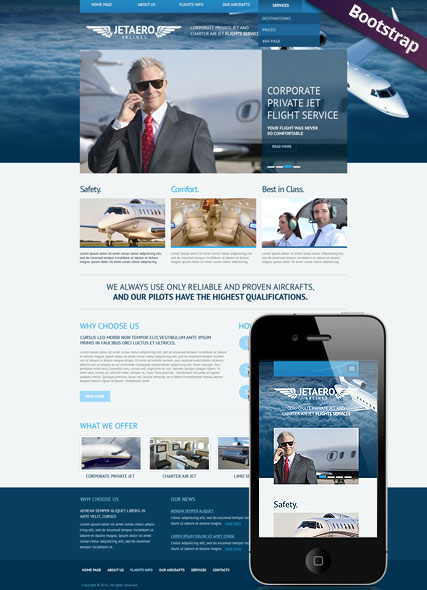 Private Airline, Bootstrap template