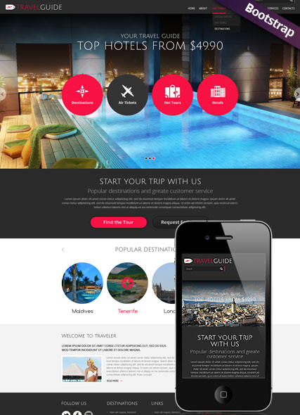 Travel Guide, Bootstrap template