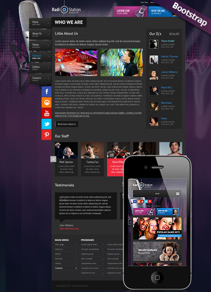 Radio Station, Bootstrap template