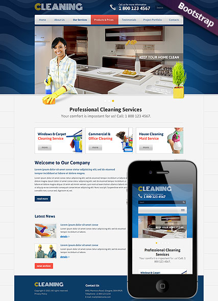 Cleanin, Bootstrap template