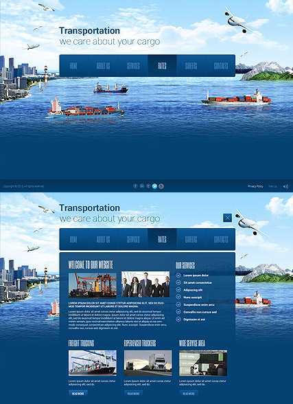 Transportation Paralax, HTML5 template