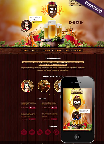 Beer Pub, Bootstrap template