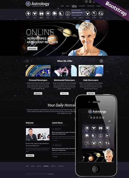Astrology, Bootstrap template