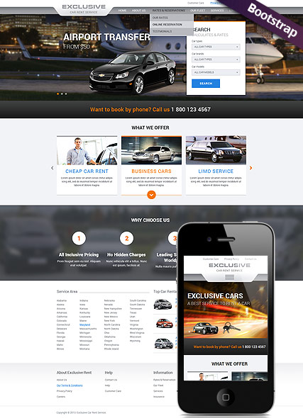 Rent a Car, Bootstrap template