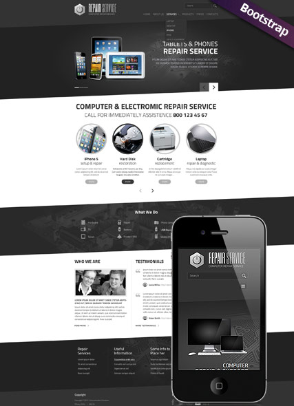 PC repair service, Bootstrap template