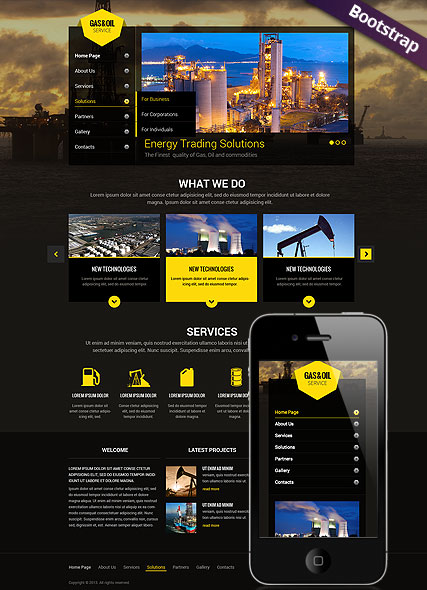 Gas and Oil, Bootstrap template