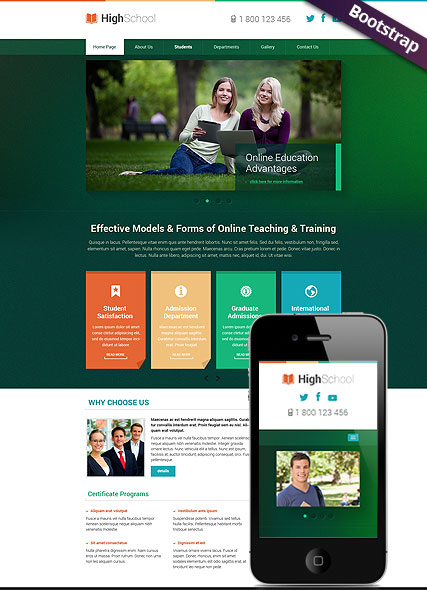 Hight School, Bootstrap template