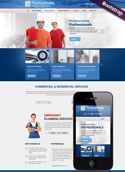 Plumbing & Heating, Bootstrap template