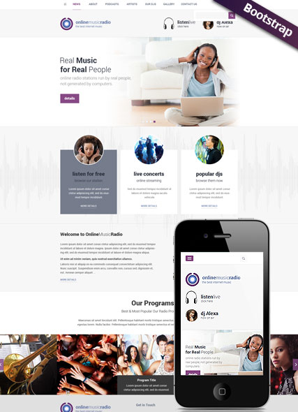 Radio Online, Bootstrap template