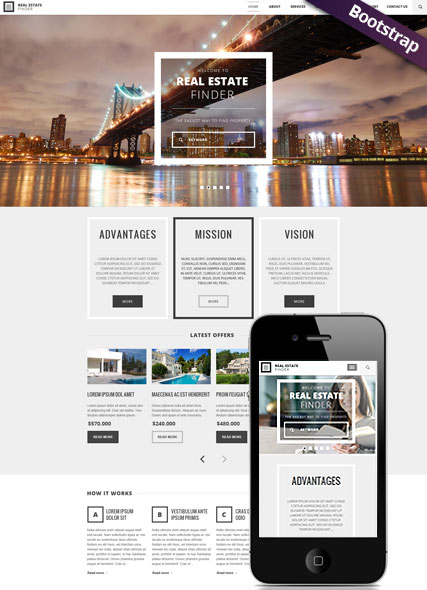 Real Estate, Bootstrap template