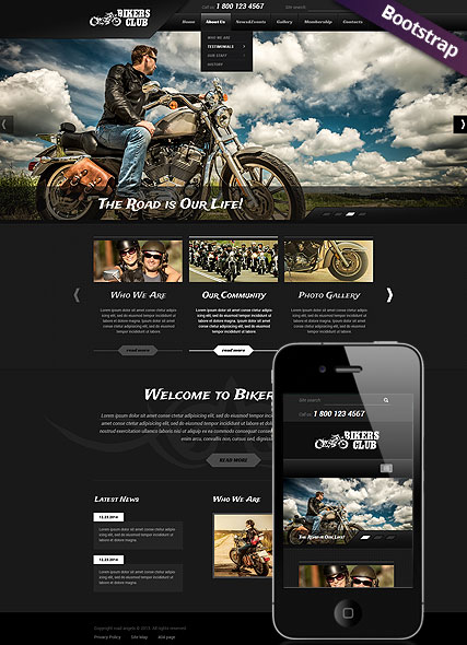 Bikers Club, Bootstrap template