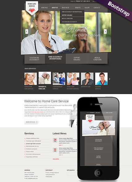Home care service, Bootstrap template