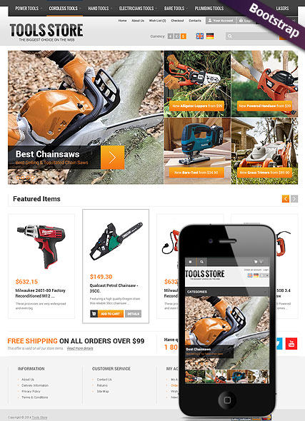 Name: Tool Store - Type: OpenCart template - Item number:300111786
