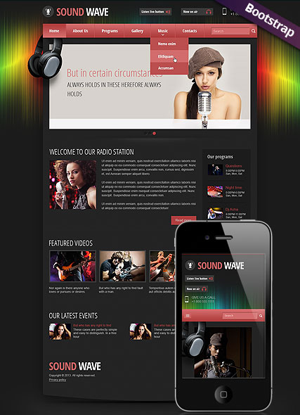 Sound wave radio, Bootstrap template