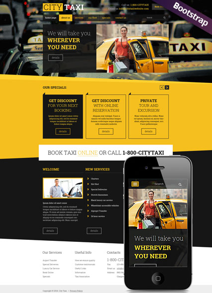 Taxi Service, Bootstrap template
