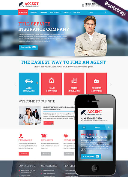 Insurance company, Bootstrap template