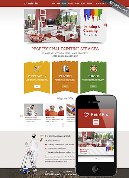 Painting co, Wordpress template
