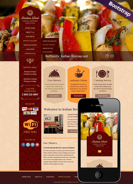 Indian Food, Bootstrap template