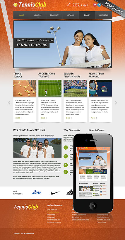 Tennis Club, Bootstrap template