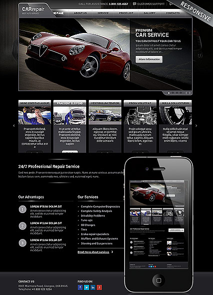 Auto service, Wordpress template