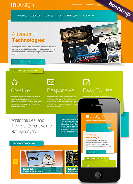 In Design, Bootstrap template