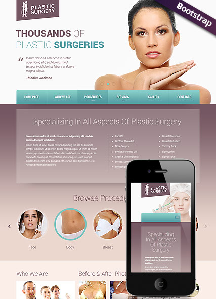 Plastic surgery, Bootstrap template