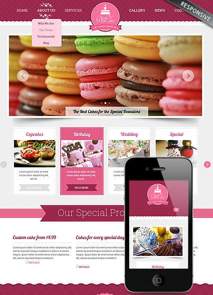 Cake shop, Bootstrap template