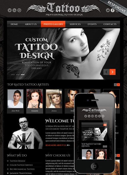 Tattoo design, Bootstrap template