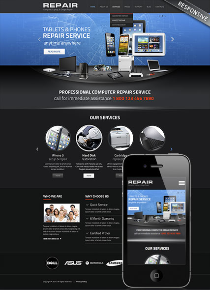 Computer repair, Wordpress template