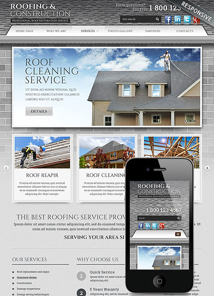 Roofing and Construction, Bootstrap template