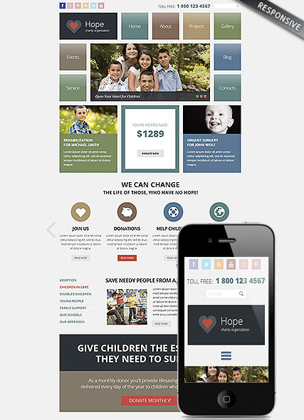 Charity, Wordpress template