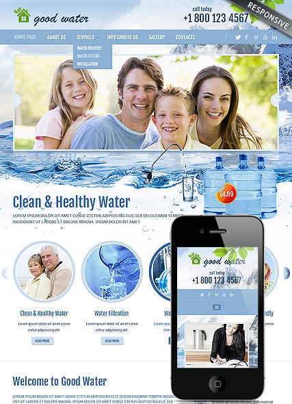 Good water, Bootstrap template
