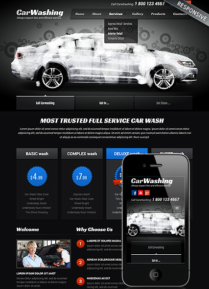 Car washing, Bootstrap template
