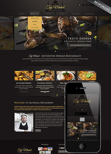 Indian restaurant, Wordpress template