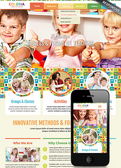 Kids studio, Bootstrap template