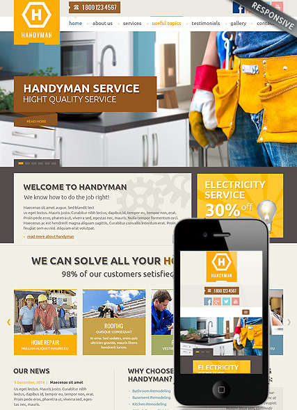 Handyman Service, Bootstrap template