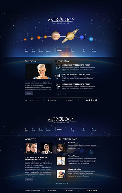 Astrology, HTML5 template