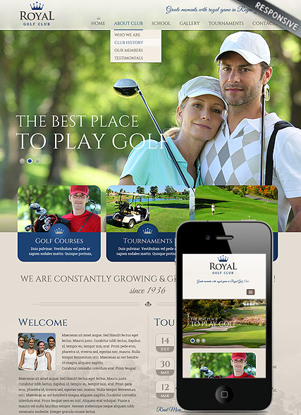 Golf club, Bootstrap template
