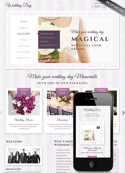 Wedding, Bootstrap template